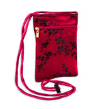Travel Neck Pouch - Silk Brocade (cherry blossom red black)