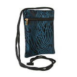 Travel Neck Pouch - Silk Brocade (feather teal)