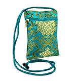 Travel Neck Pouch - Silk Brocade (lotus marine)