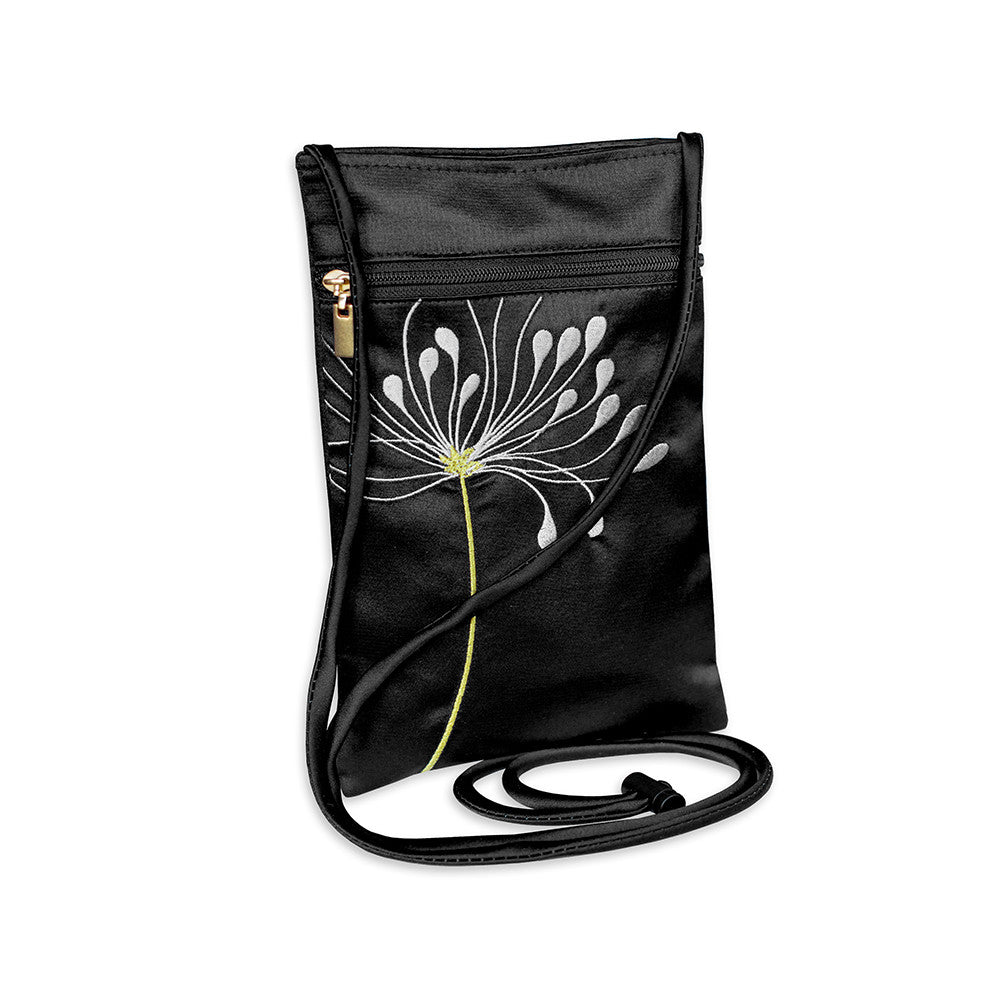 Travel Neck Pouch - Embroidered Chrysanthemum (black)