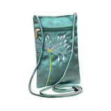 Travel Neck Pouch - Embroidered Chrysanthemum (seafoam)