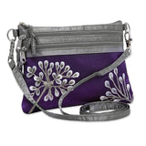 3 Zip Messenger - Embroidered Dandelion (deep purple)
