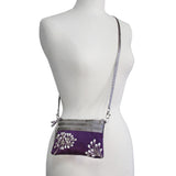 3 Zip Messenger - Embroidered Dandelion (black, deep purple, gray, peacock black, peacock brown, pewter, purple plum, royal blue)