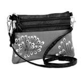 3 Zip Messenger - Embroidered Dandelion (gray)