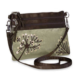 3 Zip Messenger - Embroidered Dandelion (pewter)