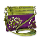 3 Zip Messenger - Embroidered Dandelion (purple plum)