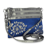 3 Zip Messenger - Embroidered Dandelion (royal blue)