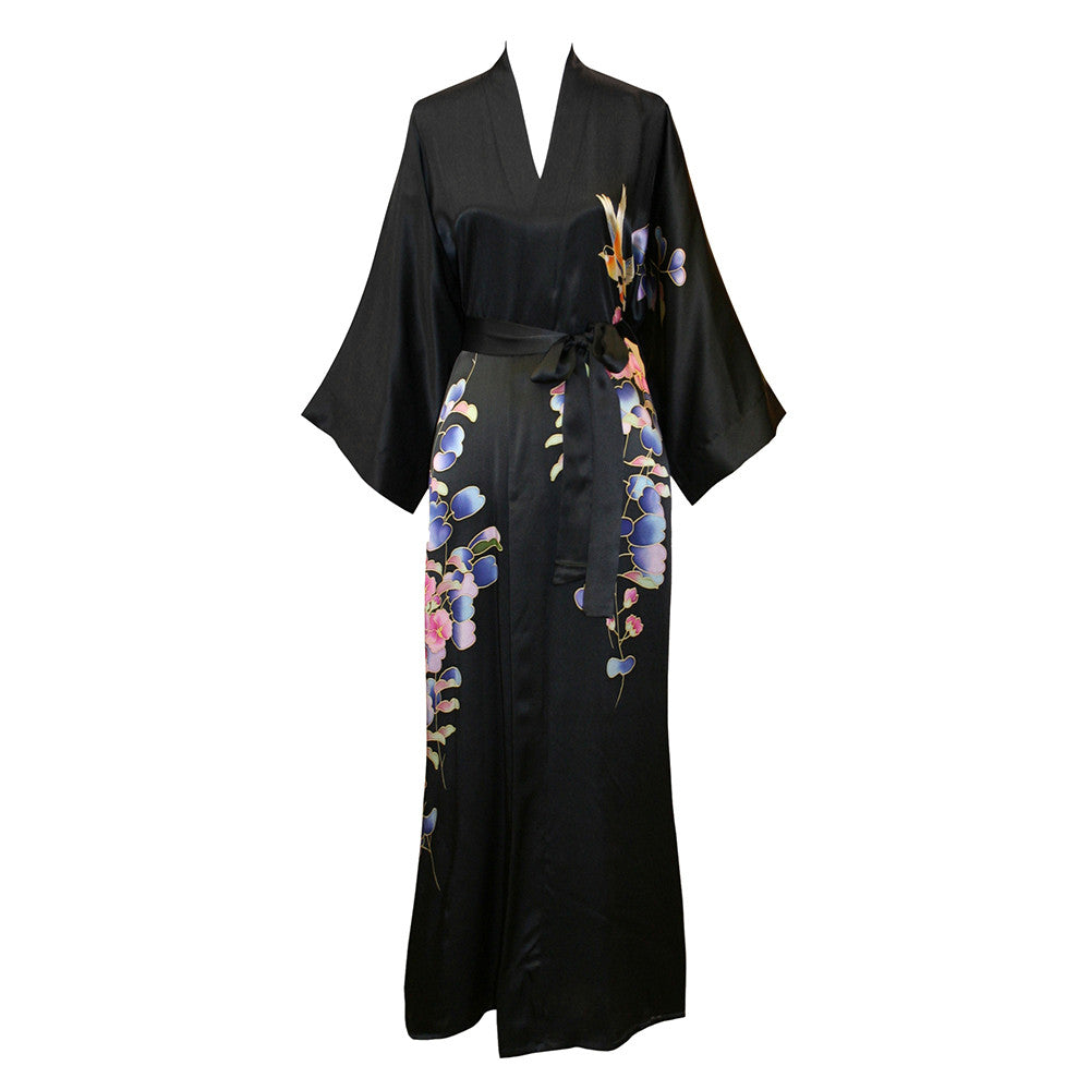 Silk Kimono Long Robe - Handpainted Floral (black)