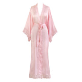 Kimono Long Robe - Lace Trim (light pink)