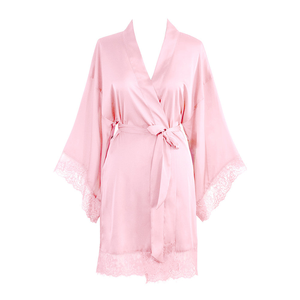 Kimono Robe Short - Lace Trim (light pink)