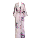 Kimono Long Robe - Peacock & Blossoms (light pink)
