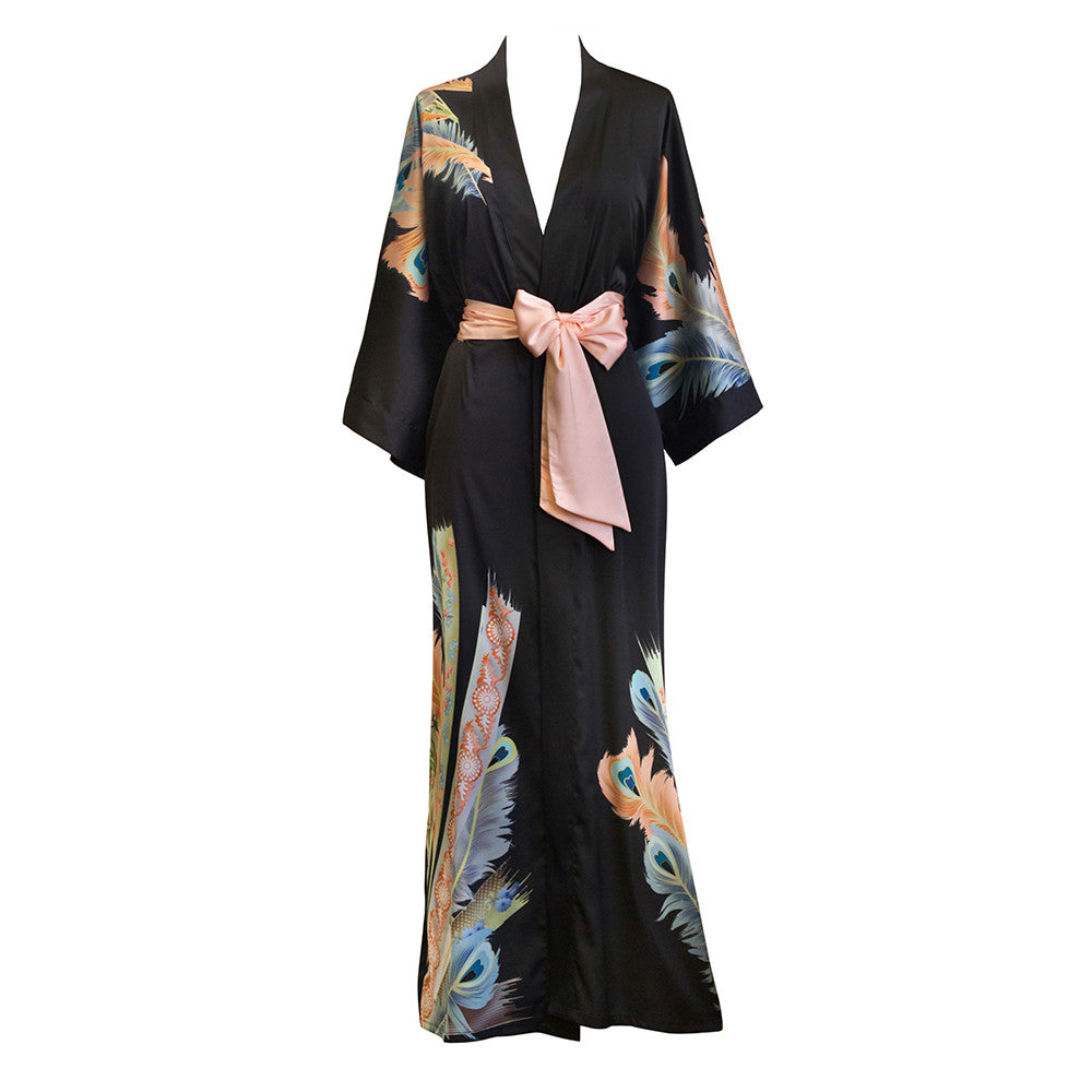 Peacock Feather Kimono Robe (black)