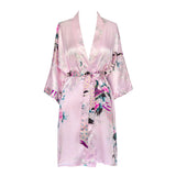 Kimono Short Robe - Peacock & Blossoms (light pink)