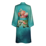 Kimono Short Robe - Coral Chrysanthemum (meadow blue)