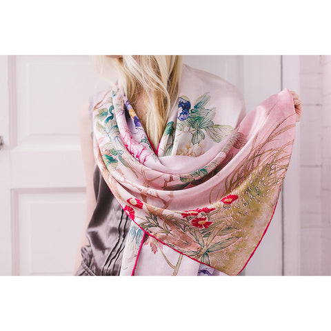 Spring Floral Silk Charmeuse Scarf