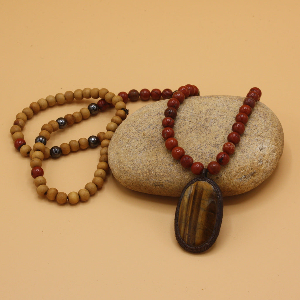 Carnelius Sandalwood & Tigers Eye Mala || By The Gem Within