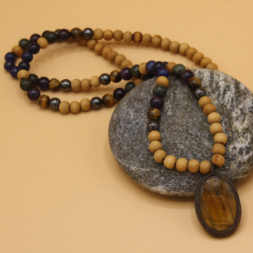 Sandalwood & Tigers Eye Mala || By The Gem Within