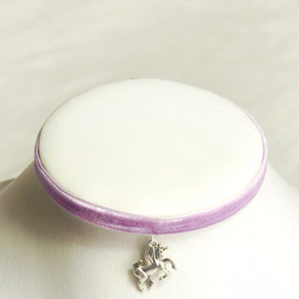 Color Velvet Unicorn Choker