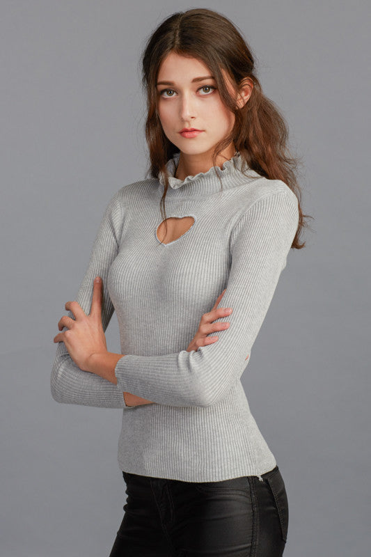 Heart Cut-out High Neck Knitted Rib Sweater