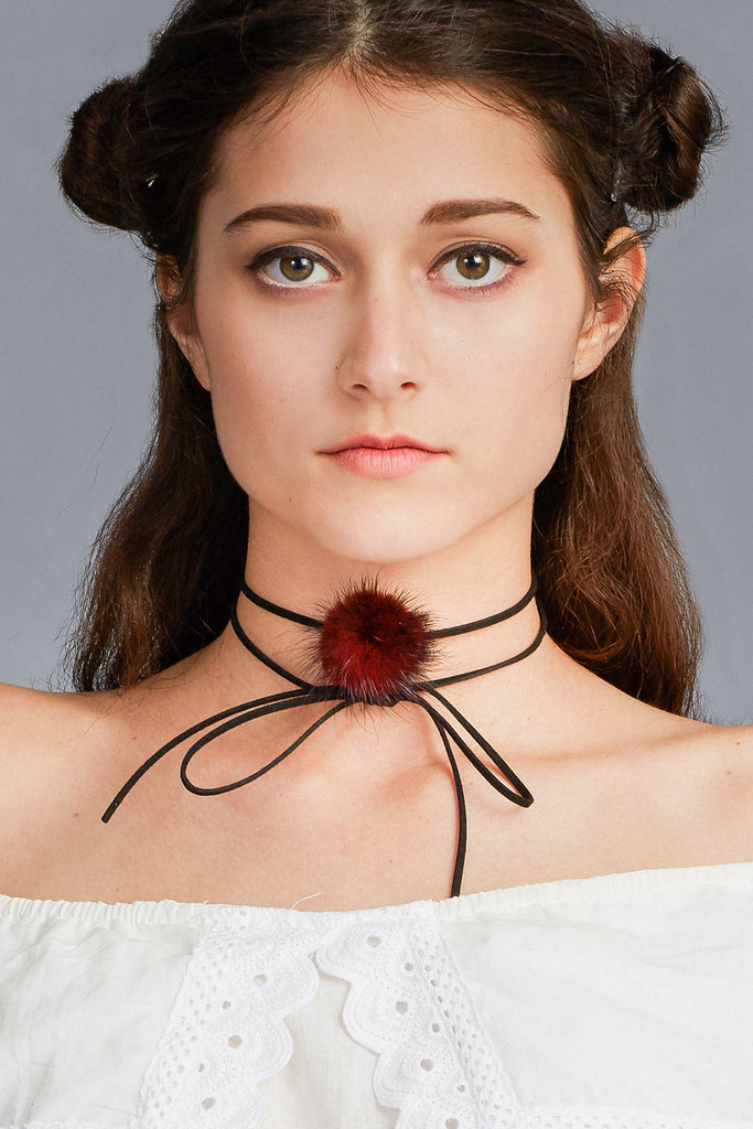 GG Neck Wrap Choker - White/Red/Grey
