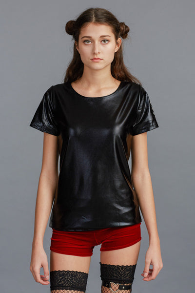 Wet look patent leather top