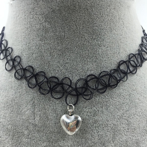 Tattoo Choker with Silver Heart