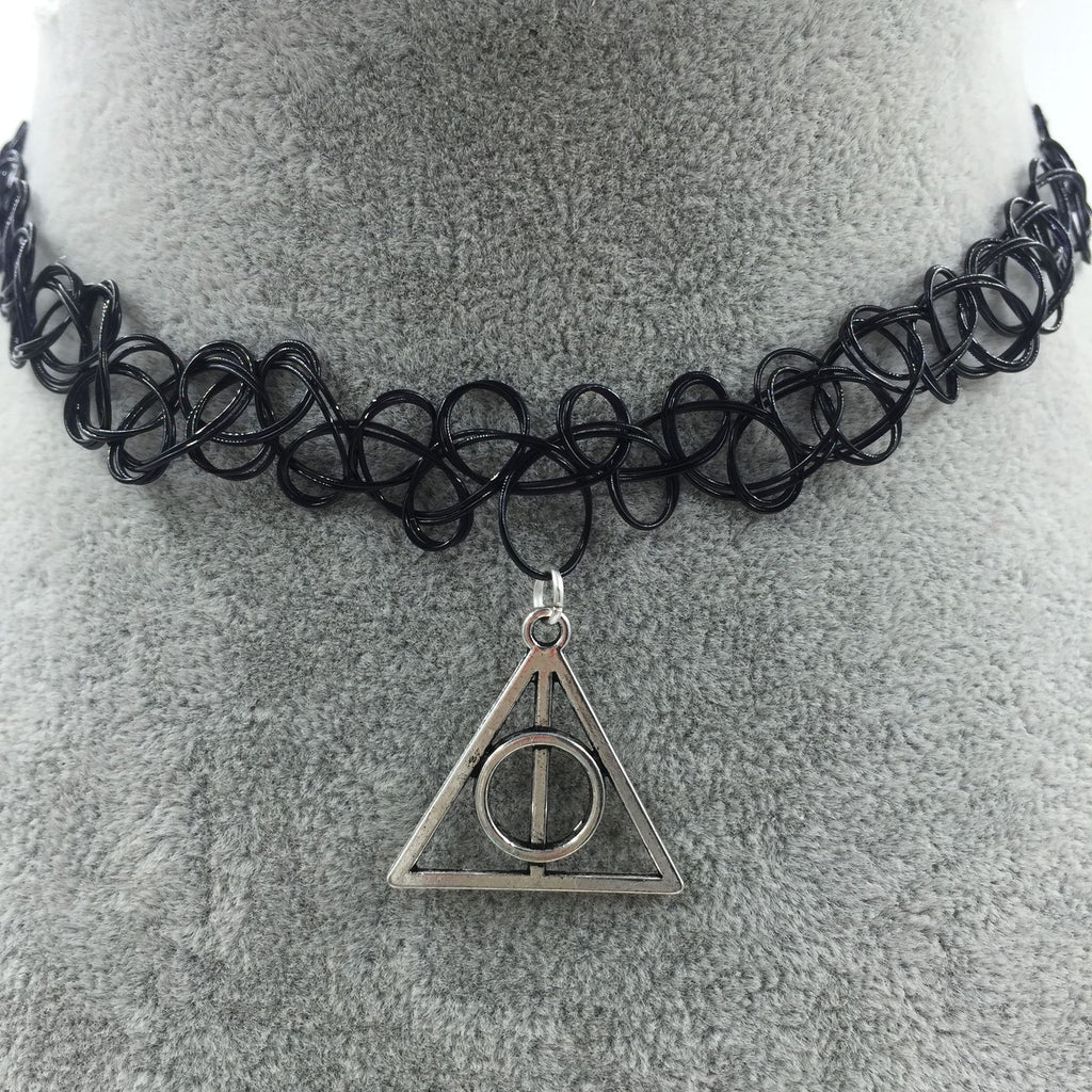 Tattoo Choker with Deathly Hallow