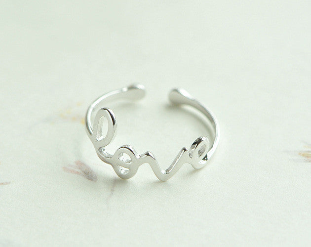 100% Sterling Silver Love Ring
