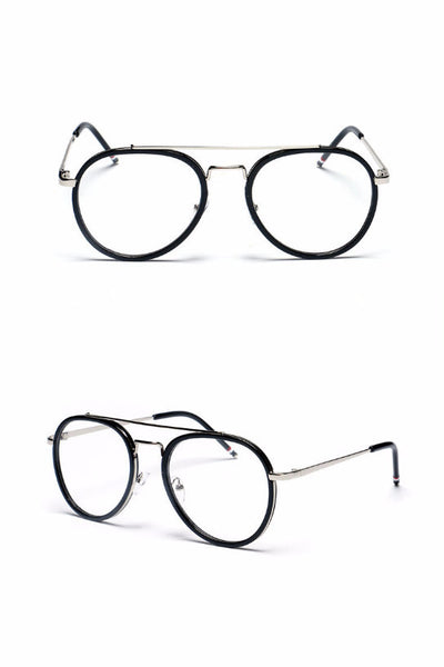 Clear Aviator Glasses - Black