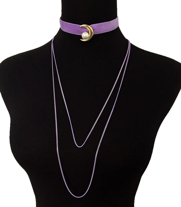 Moon and Pearl Velvet Layered Choker - Violet