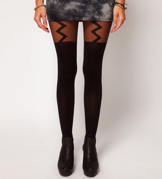 Zig Zag Suspender Tights
