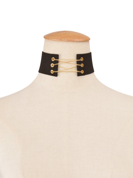 Gold Chain Lace Up Large Velvet Choker