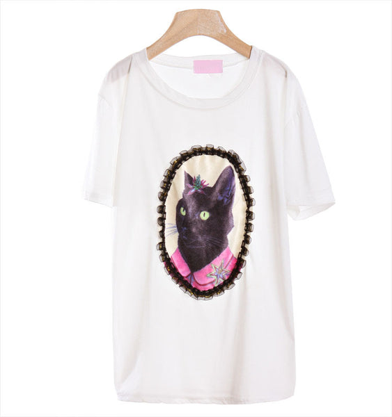 Ms Kitty Portrait Lace T-shirt