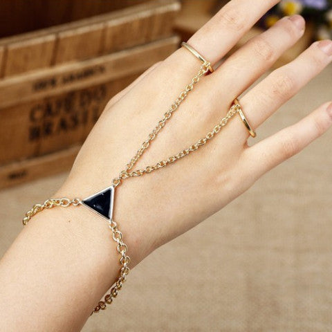 Double ring finger bracelet with triangle