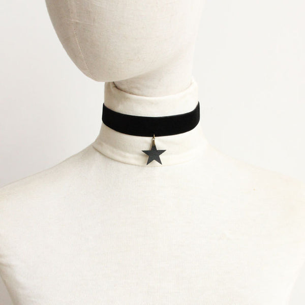 Leather Star Black Velvet Choker