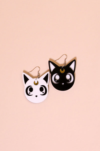 Moon Kitties Acrylic Earrings