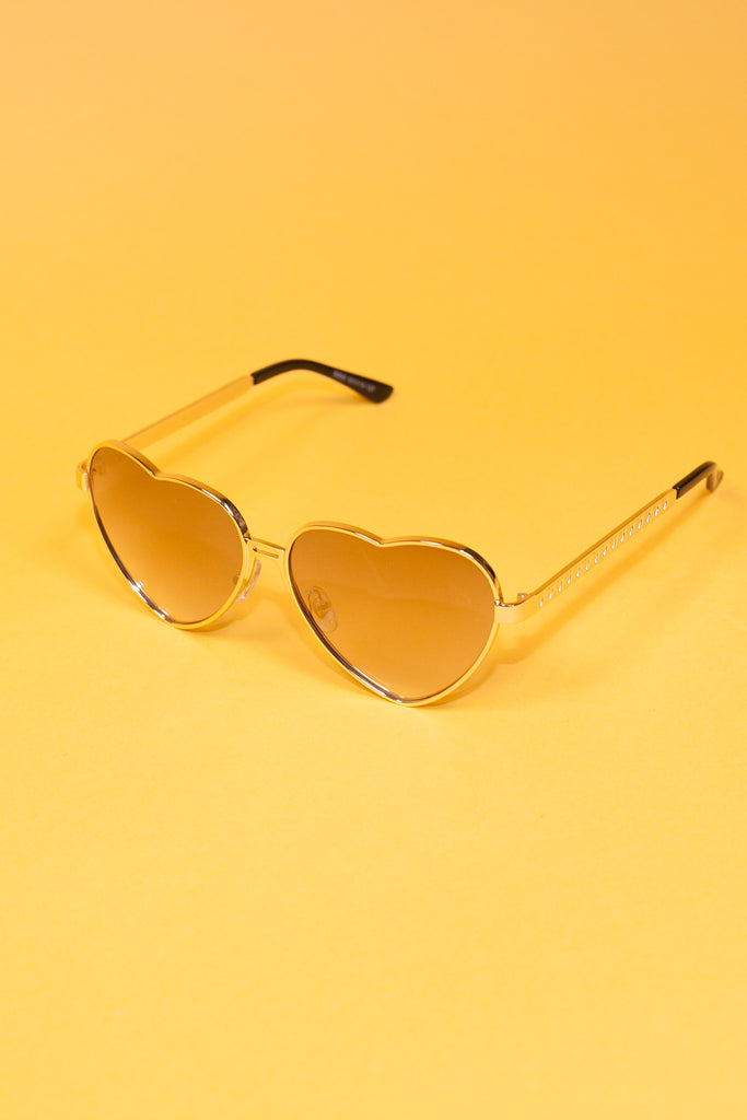 Heart Shaped Sunglasses - Gold