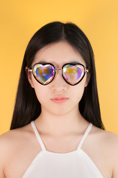 Iridescent Heart-shaped BB Sunglasses