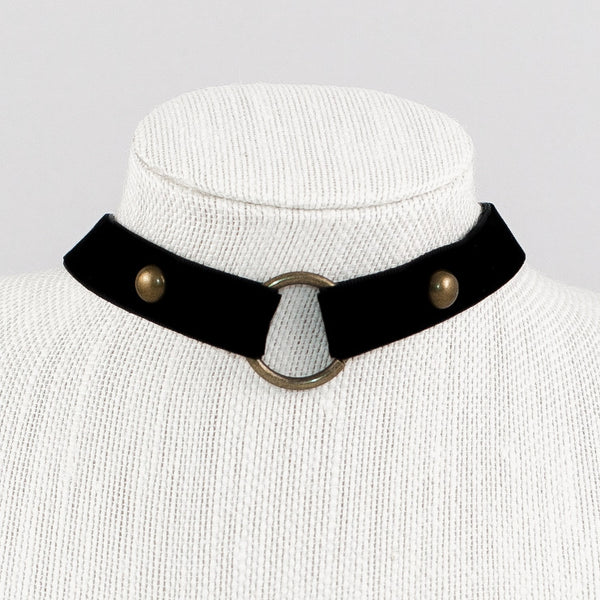 Velvet Choker with Metal Ring