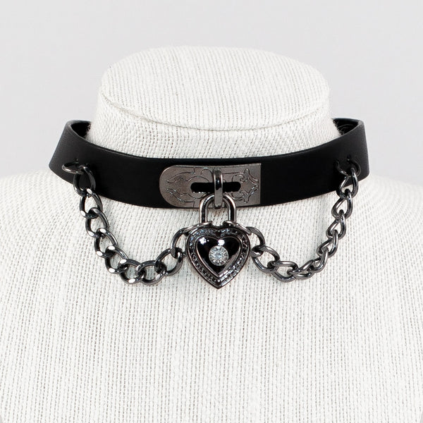 Chain and Heart Leather Choker