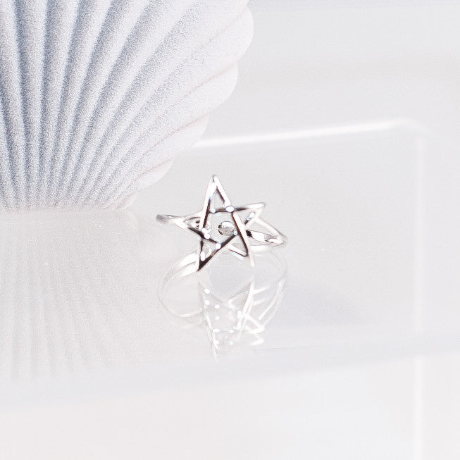 100% Sterling Silver Star Ring