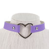 Leather Choker with Metal Heart (Multiple colors available)