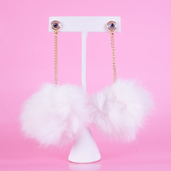 Long Pom Pom Earrings