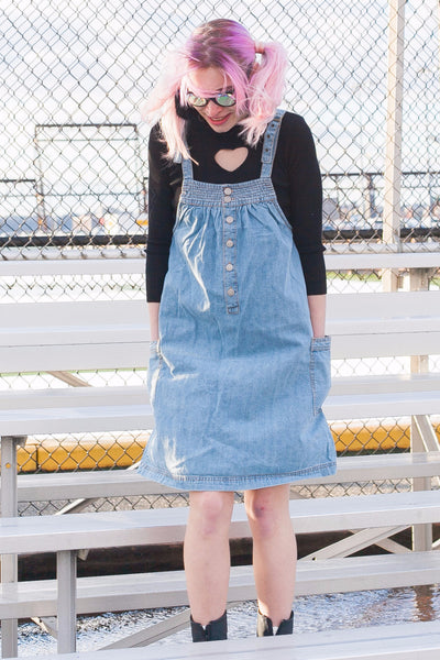 Washed Denim Suspender Dress