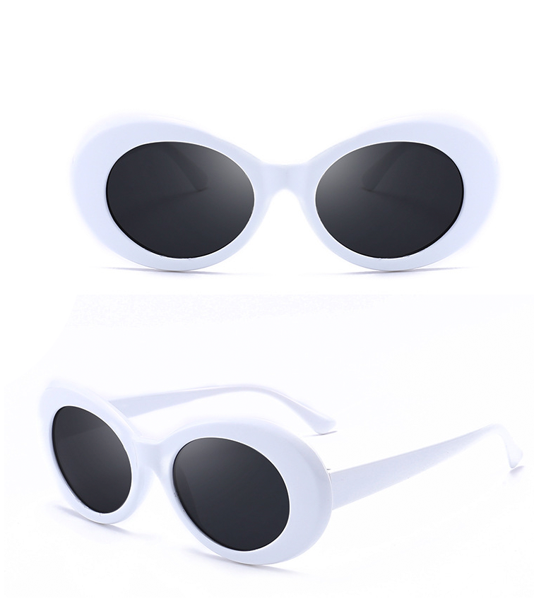 Round Frame Vintage Sunglasses - White/black