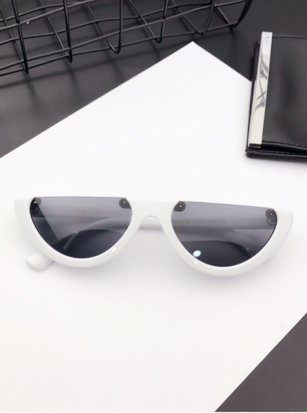Eyecandy Half Frame Sunglasses - White/black