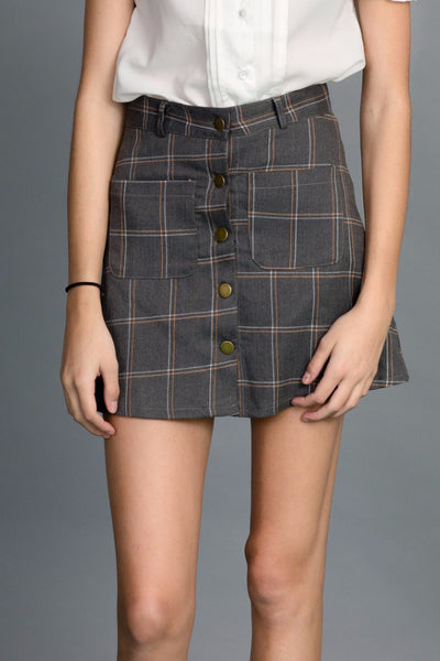 Button Up Classic A-line Skirt