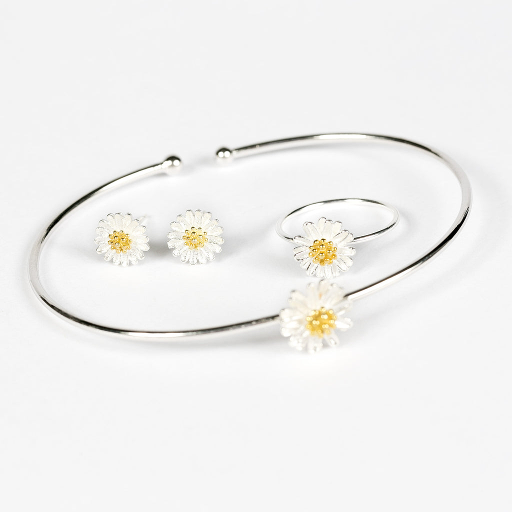 100% Sterling Silver Daisy Bangle