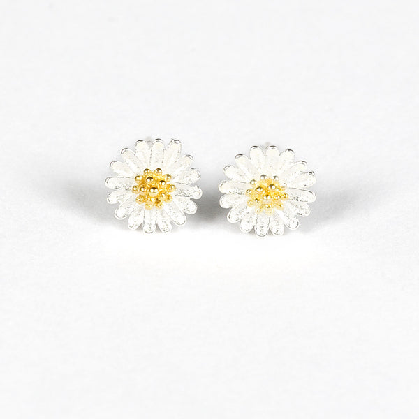 100% Silver Sterling Daisy Earrings Studs