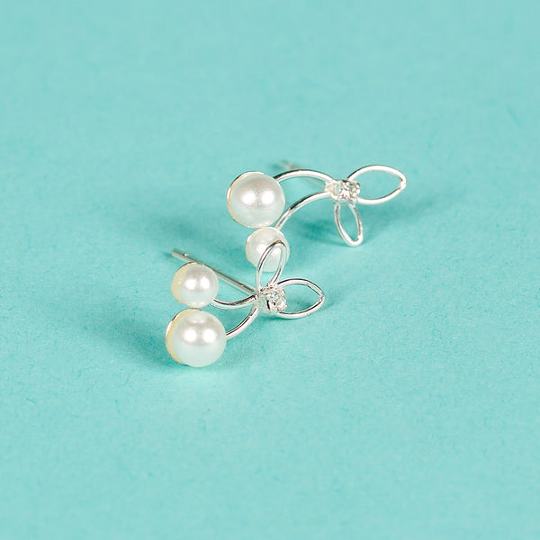 100% Silver Cherry Earrings with Faux Pearls and crystals